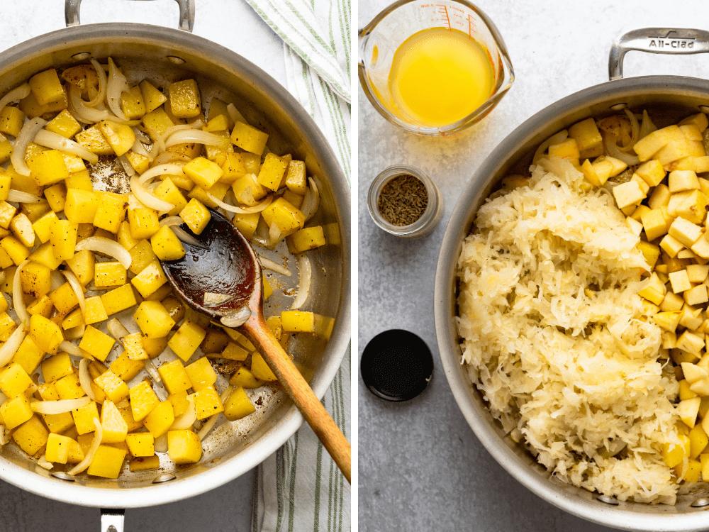 sautéing potatoes and onions and adding sauerkraut.