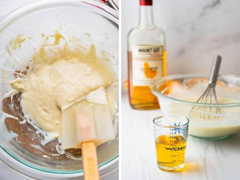 adding rum to the ice cream custard.