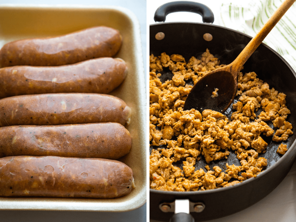 Italian turkey sausages for amping up the flavor of jarred pasta sauce.