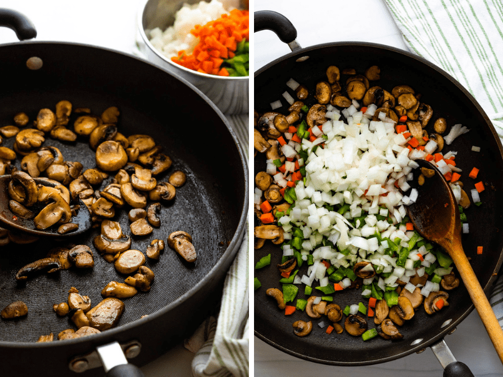 sautéing mushrooms and veggies for a more homemade tasting sauce.