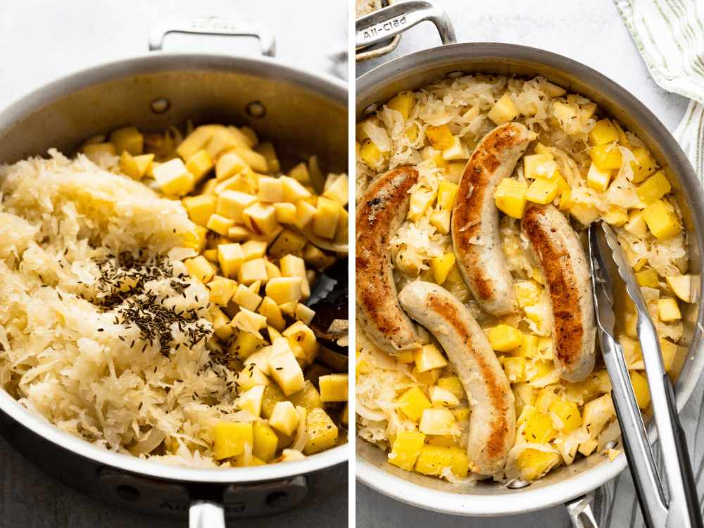 Adding caraway seeds and browned bratwurst to the sausage sauerkraut skillet dinner.
