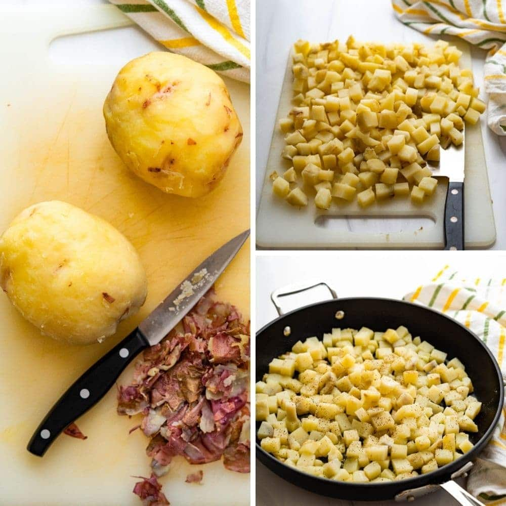 Dicing the spuds and seasoning them in a skillet.