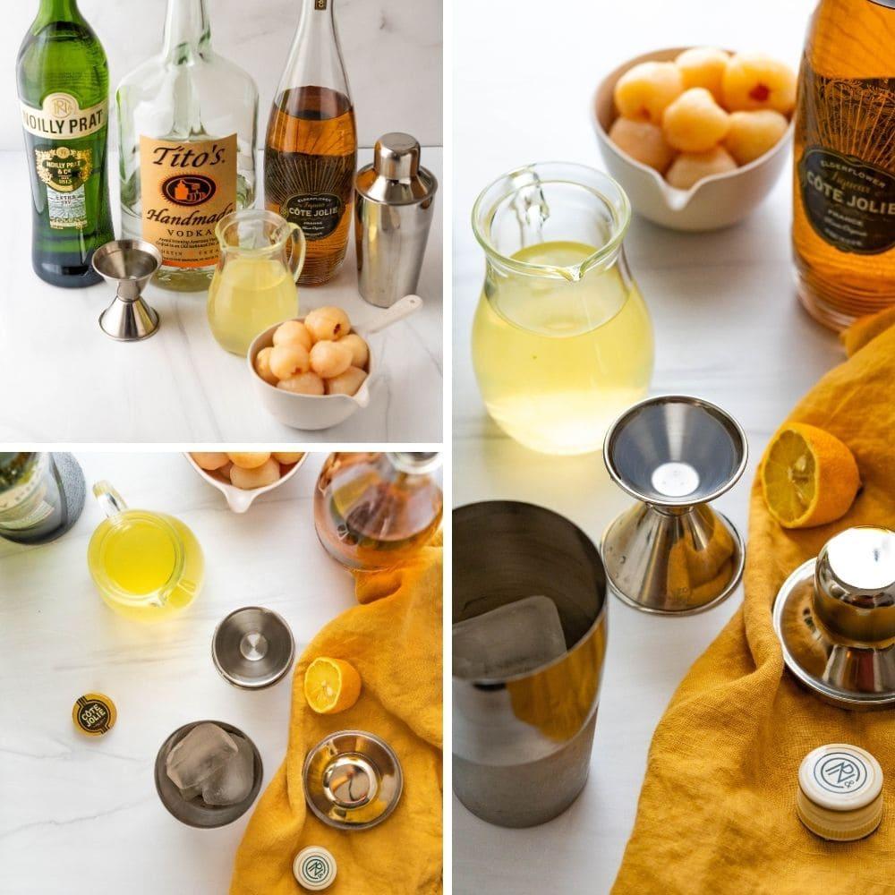 ingredients for lychee elderflower martini recipe.