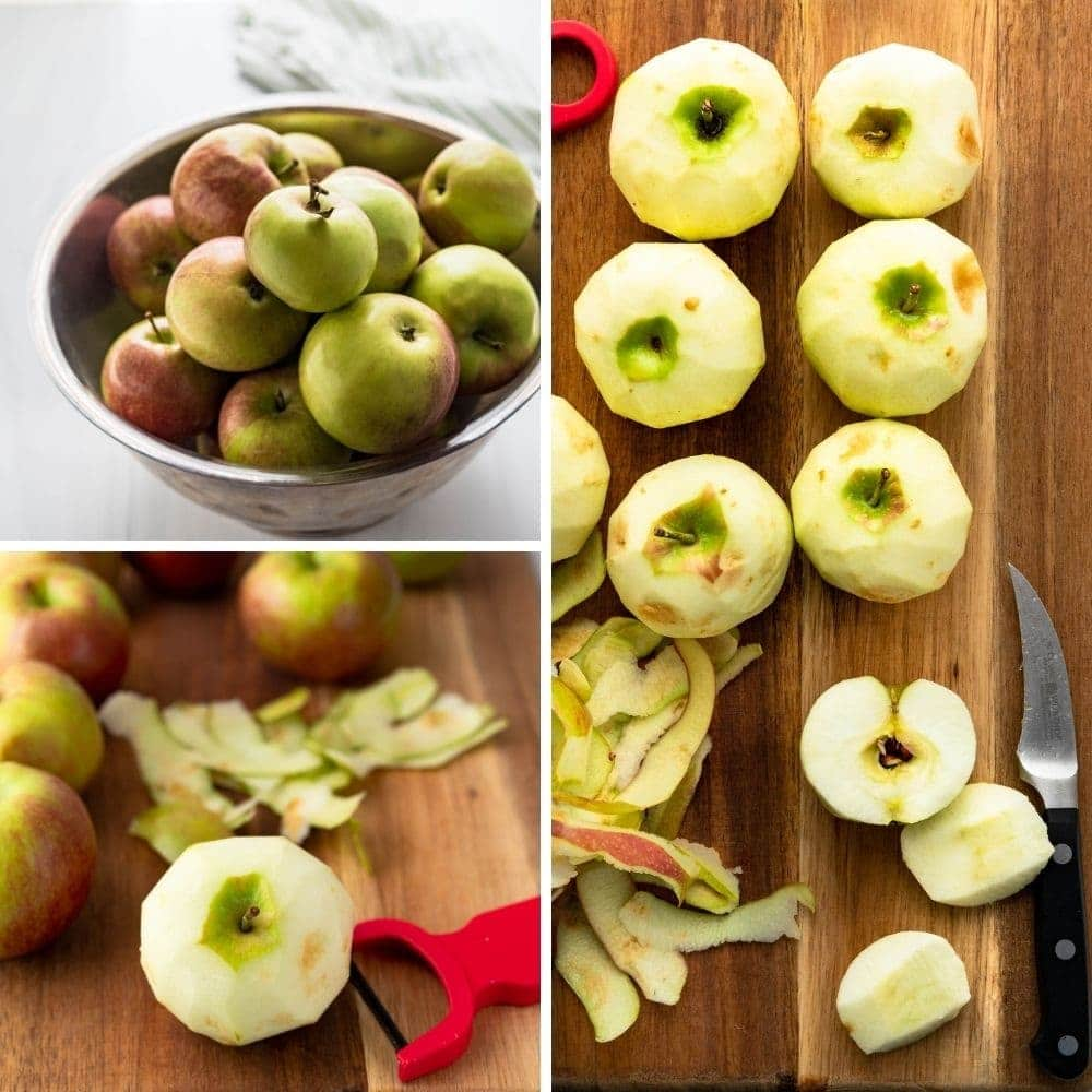 Peeling and chopping McIntosh apples for the fruit jam.