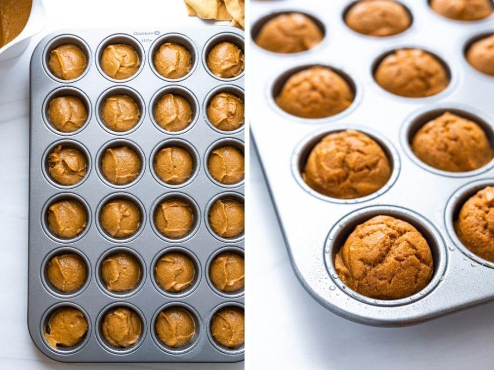 Baking maple pumpkin muffins in mini muffin tins.