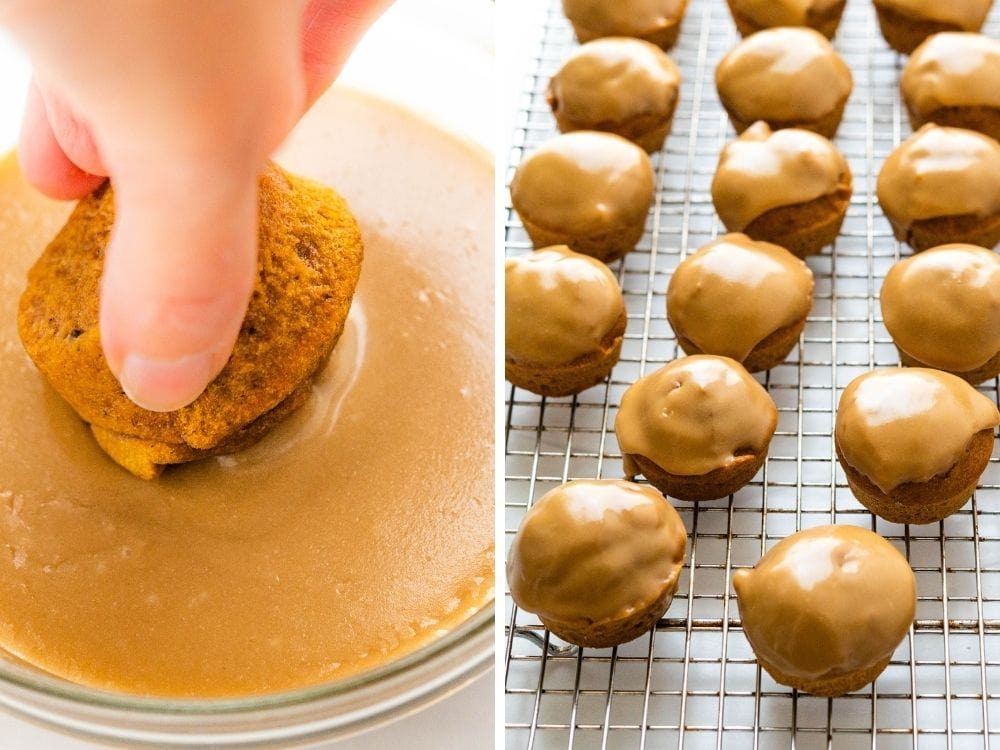 Dunking spiced pumpkin muffins into the glaze.