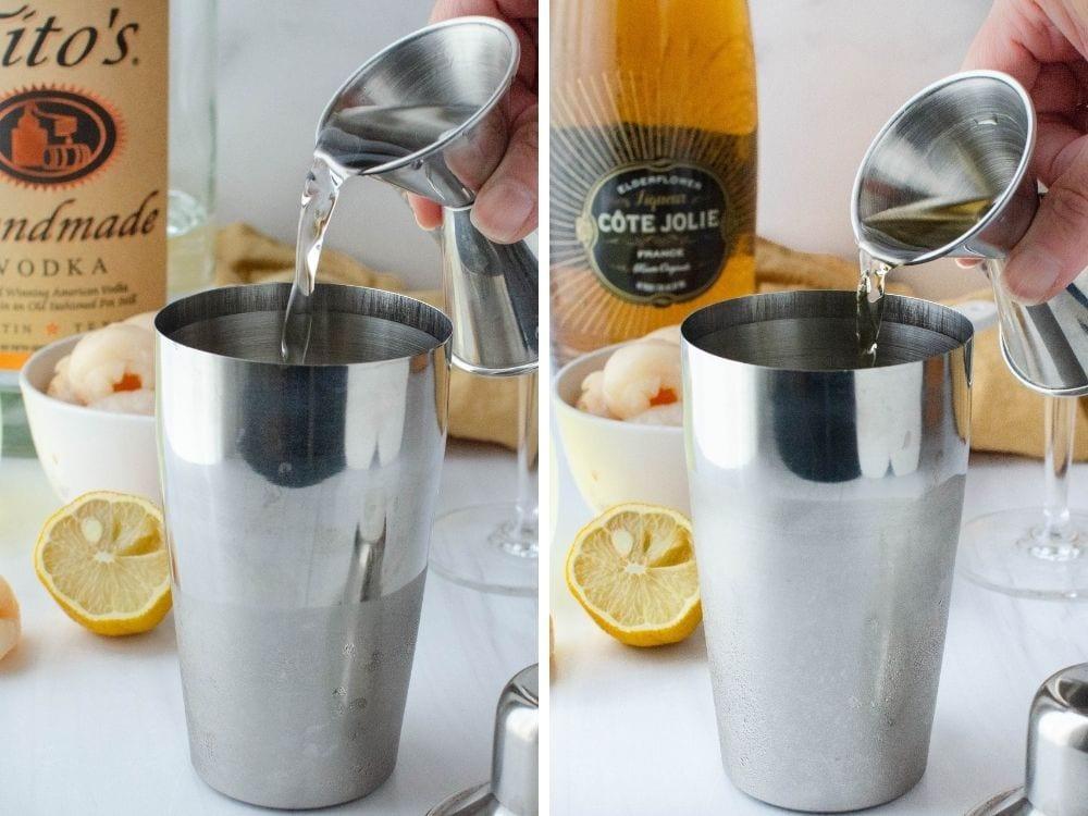 adding vodka and elderflower liquor to cocktail shaker.