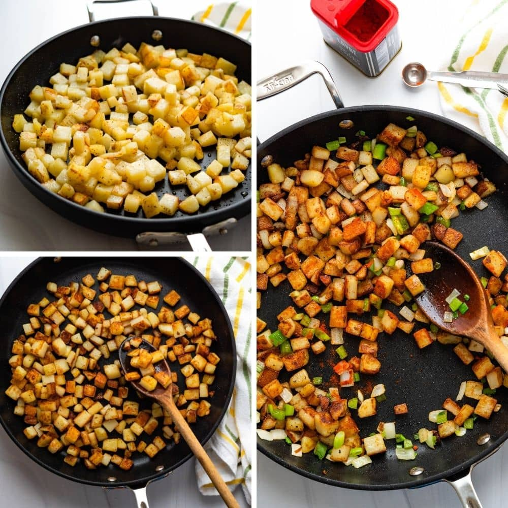 Pan Fried breakfast potatoes in various stages of cooking.