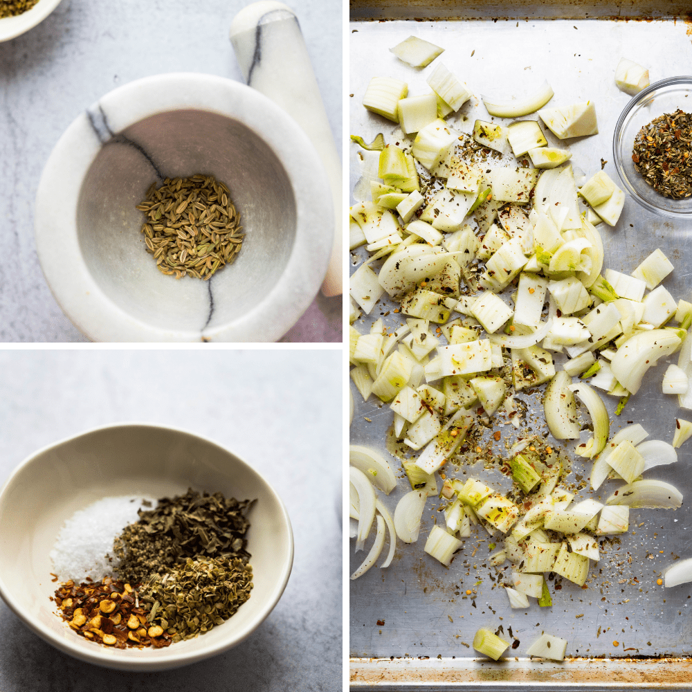 making Italian spice blend and coating the onions and fennel.