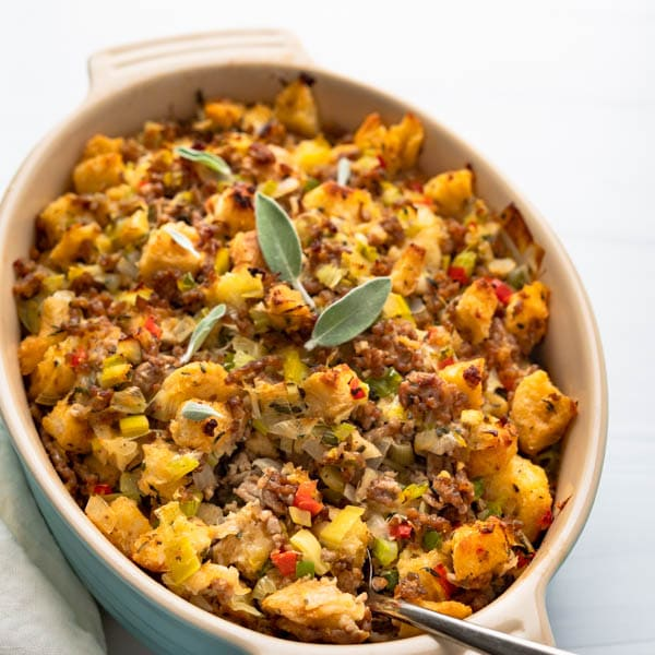 oyster and sausage dressing in a casserole dish.