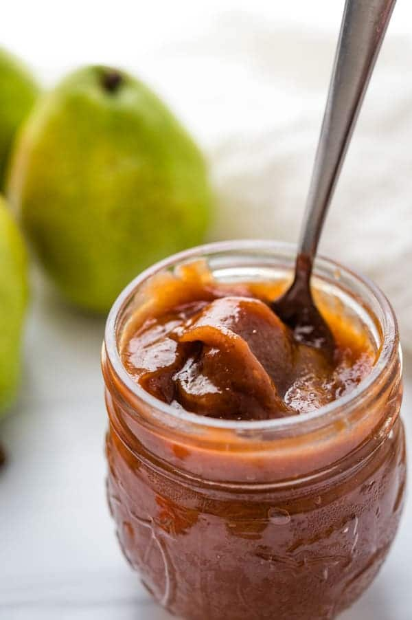 a jar of spiced honey pear butter.