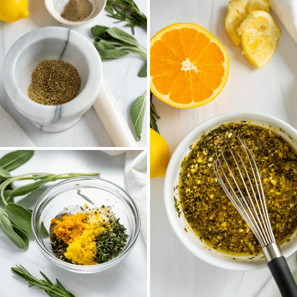 Mixing the citrus marinade.