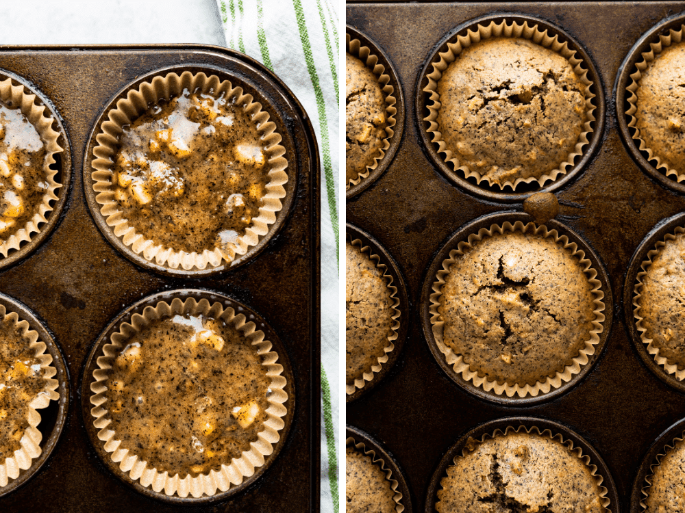 buckwheat muffins before and after baking.