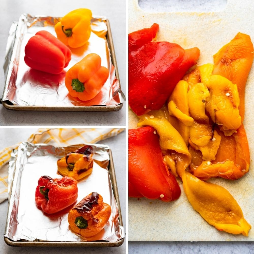 how to roast red peppers on a sheet pan.