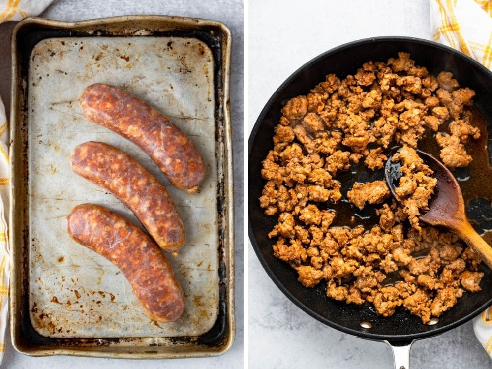 fresh Mexican sausage being browned in a skillet for the chorizo egg bake.