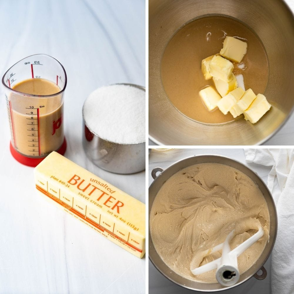 tahini, butter and sugar in a mixing bowl.