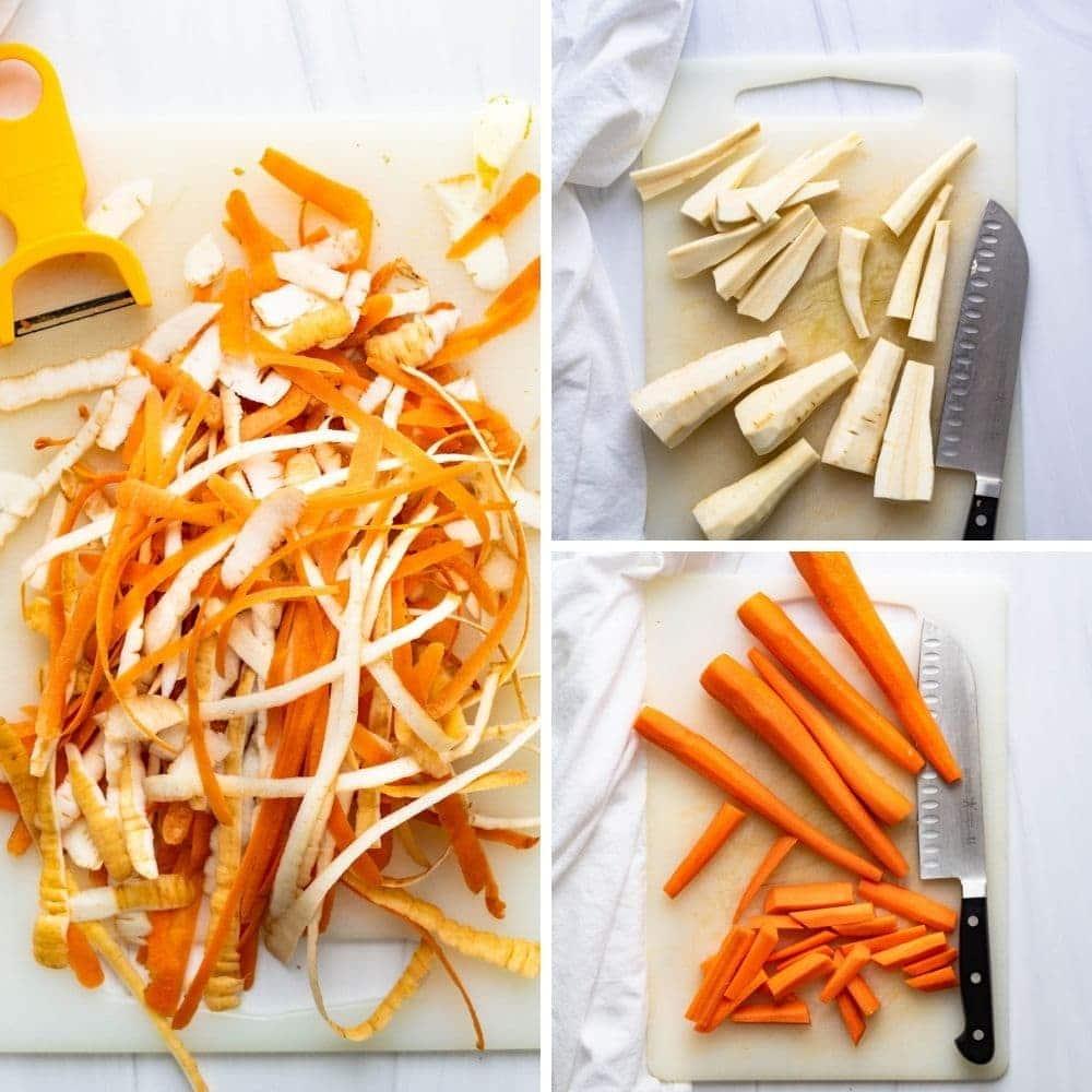 preparing the root vegetables.