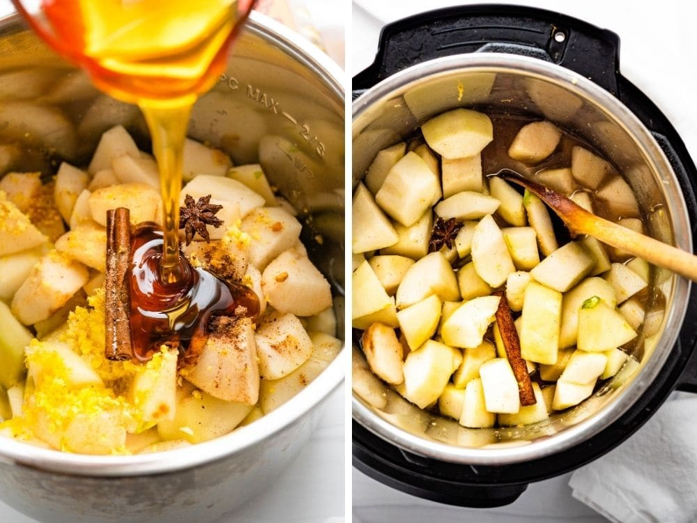 Adding honey to diced pears and spices to cook down for pear butter.