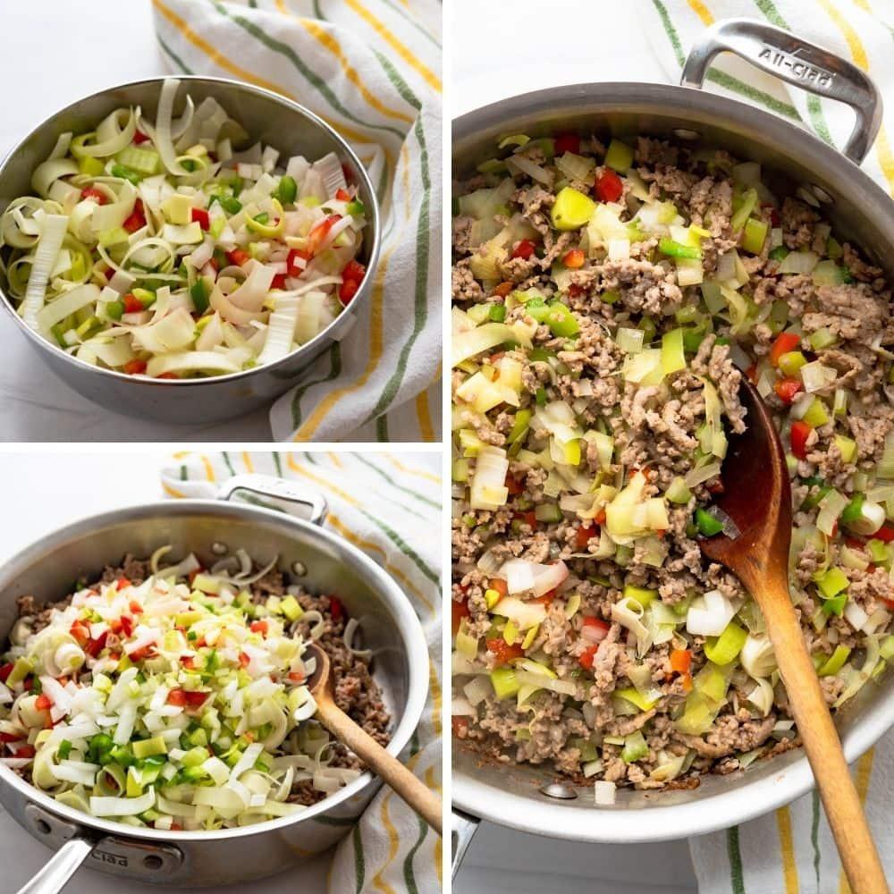 adding chopped veggies and aromatics to the sausage.