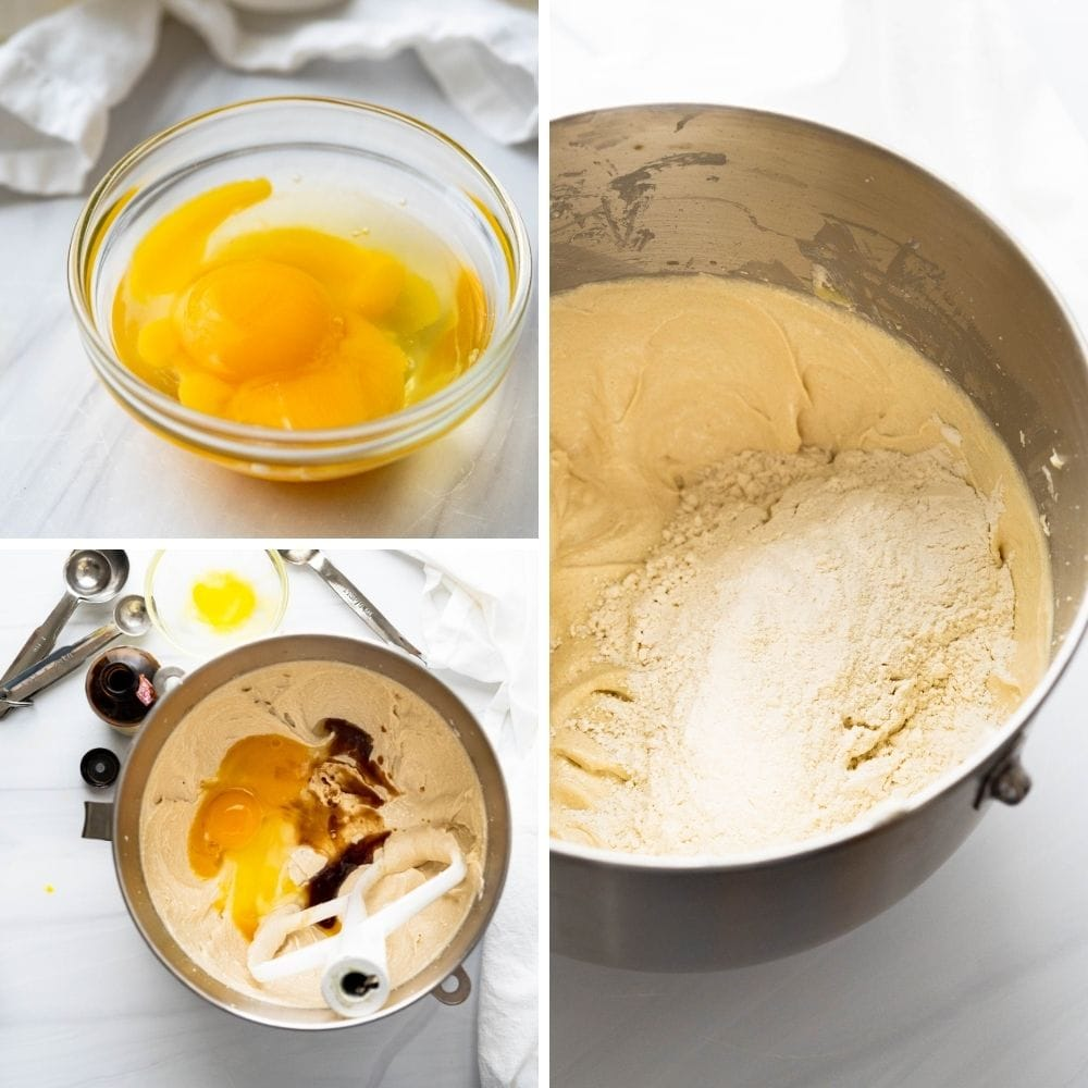 Adding eggs and vanilla and whipping  to a fluffy consistency before adding flour.