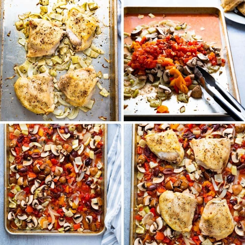Step by step how to make italian baked chicken thighs (cacciatore style).