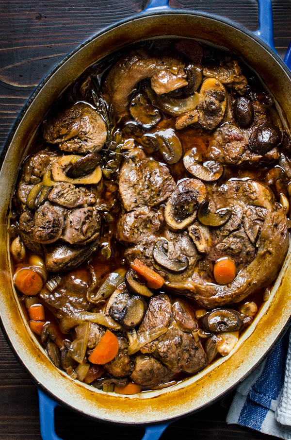 Braised veal shanks after cooking in the oven.