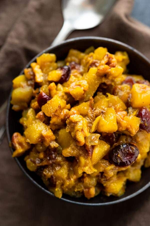 Curried apple cranberry chutney with walnuts.