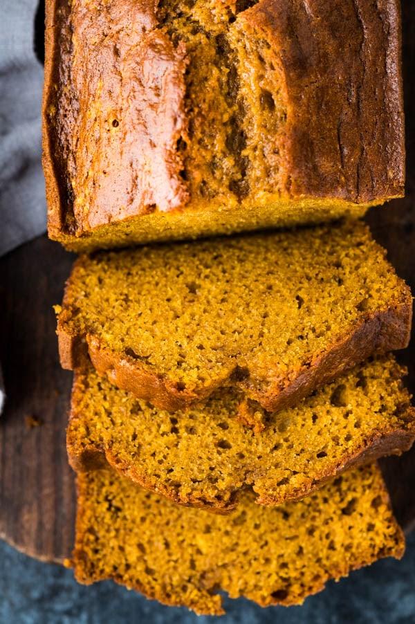 Slices of ultra moist pumpkin bread, cut thick.