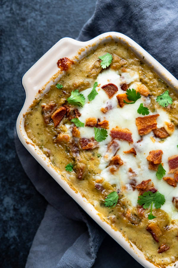 Baked Southwestern chile dip with bacon and extra cheese.