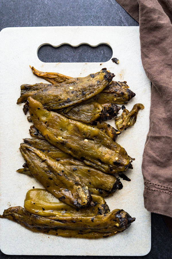 whole roasted hatch chiles, peeled of the charred skins.
