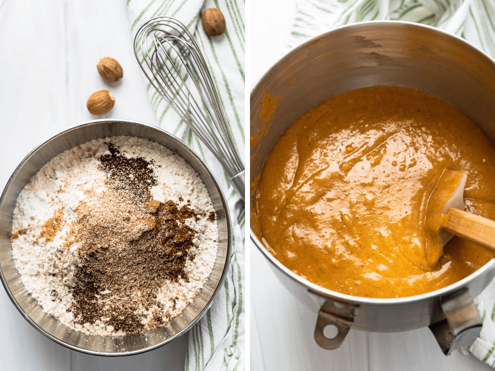 Adding flour and spice mix to the moist pumpkin bread batter.