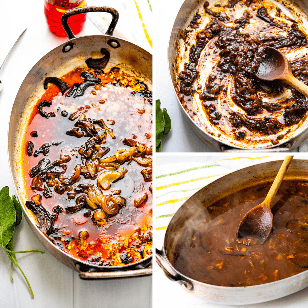 Deglazing the pan and making homemade gravy.
