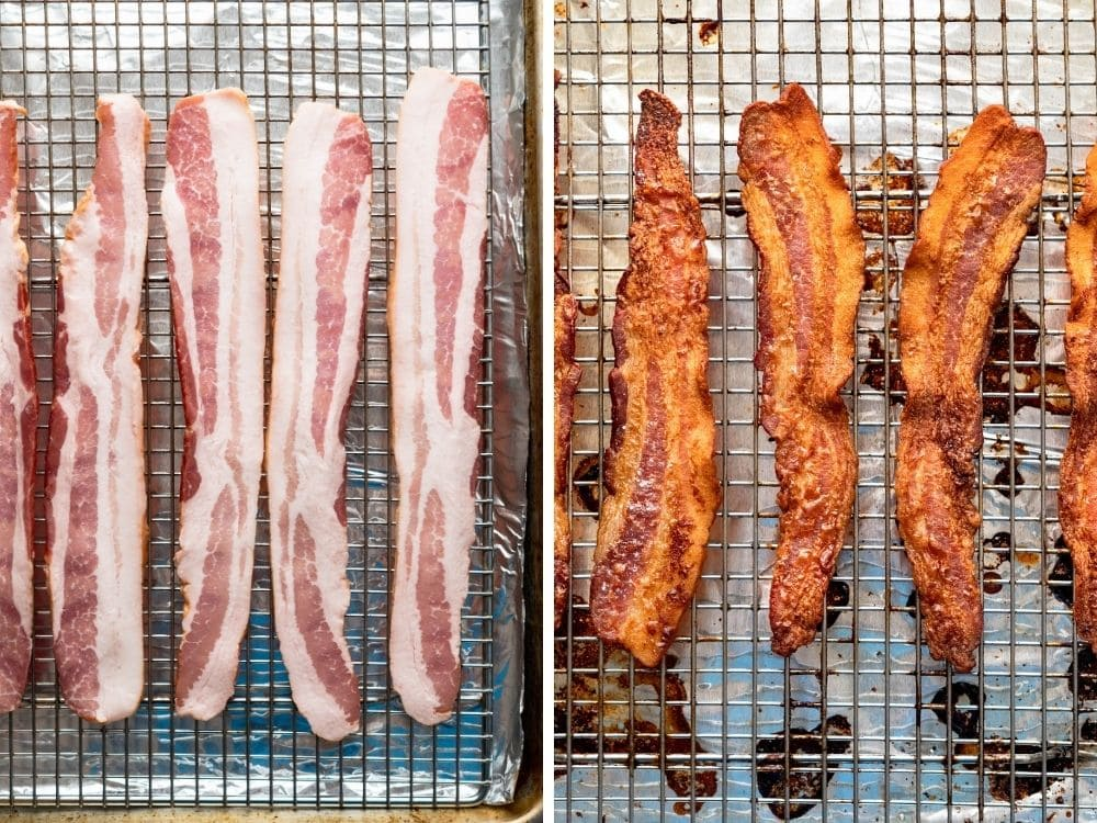 crisping bacon on a sheet pan.