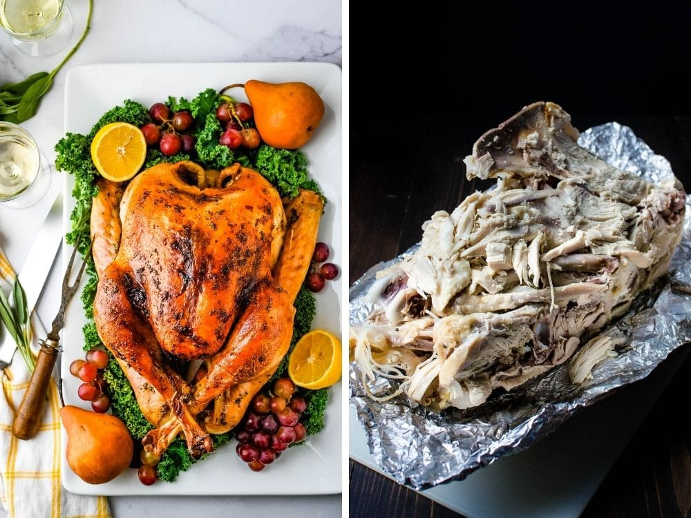 A whole Thanksgiving turkey and the carcass after it's been picked over.