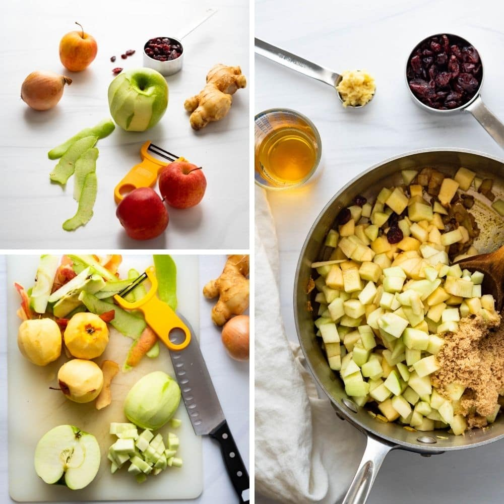 chopping apples and adding them to the pot to simmer.