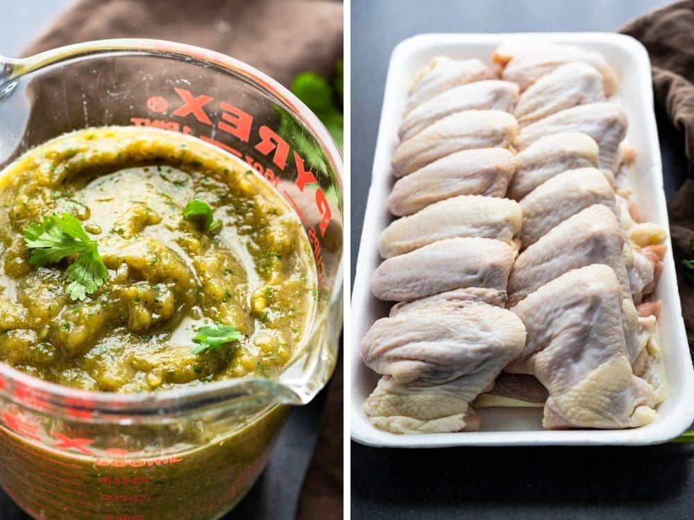 Hatch Chile sauce and a package of chicken wings.