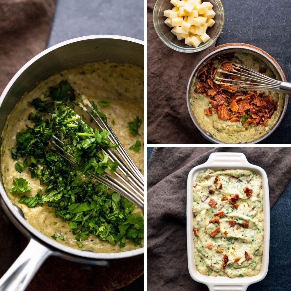 adding bacon cheese and cilantro to the dip.