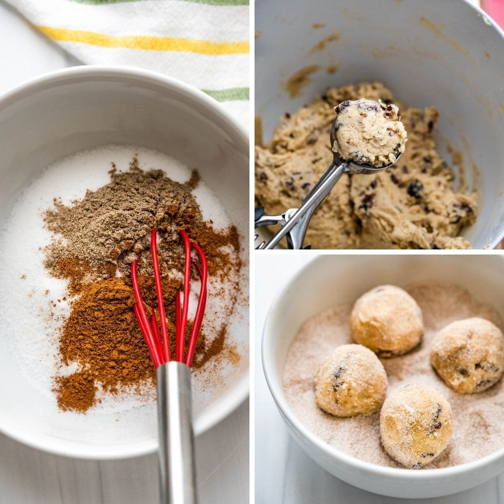 combining sugar cinnamon and cardamom to coat the cookie dough balls.