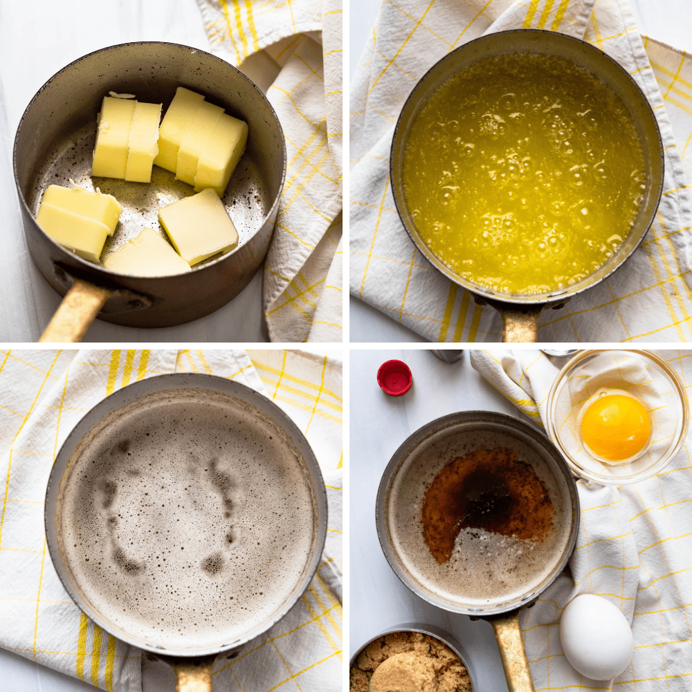 How to make browned butter for the cookies.