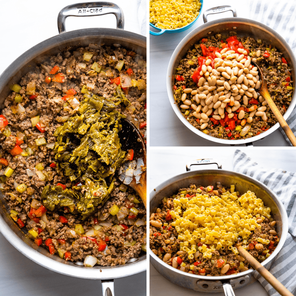 adding hatch chiles, tomatoes, canned beans and cooked ditalini pasta to the cowboy casserole.