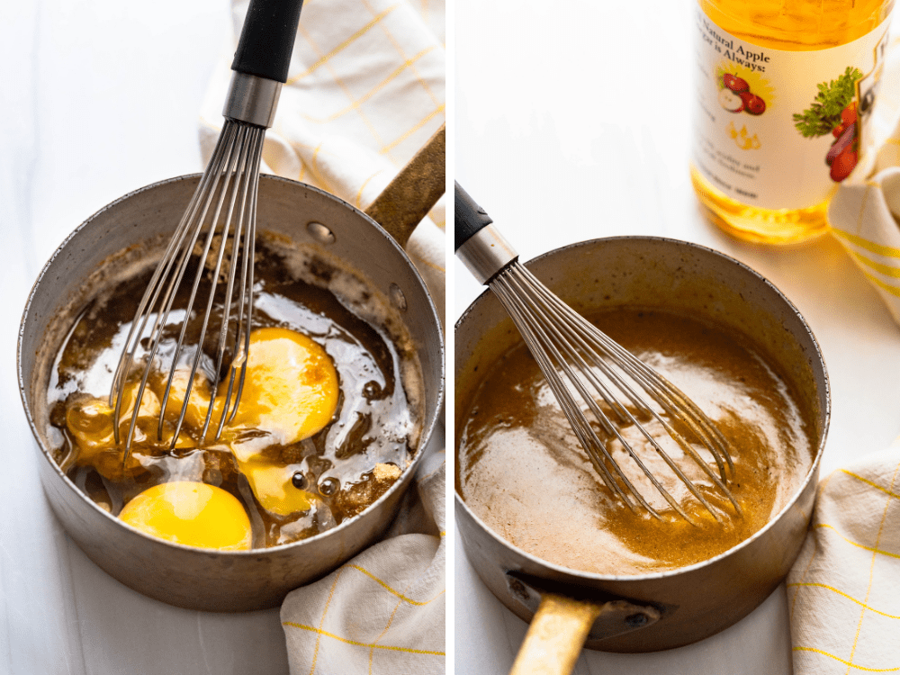 adding eggs, brown sugar extract and vinegar to the browned butter mixture.
