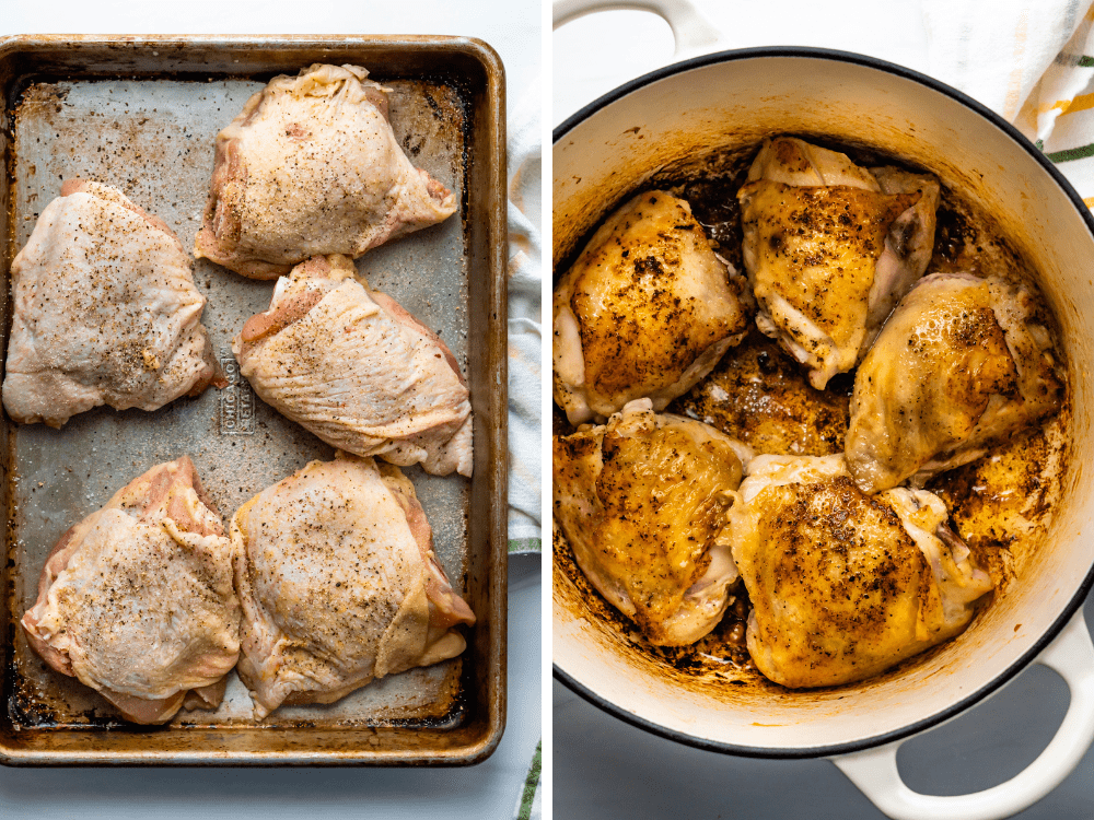 Seasoning and searing the chicken thighs in the dutch oven.