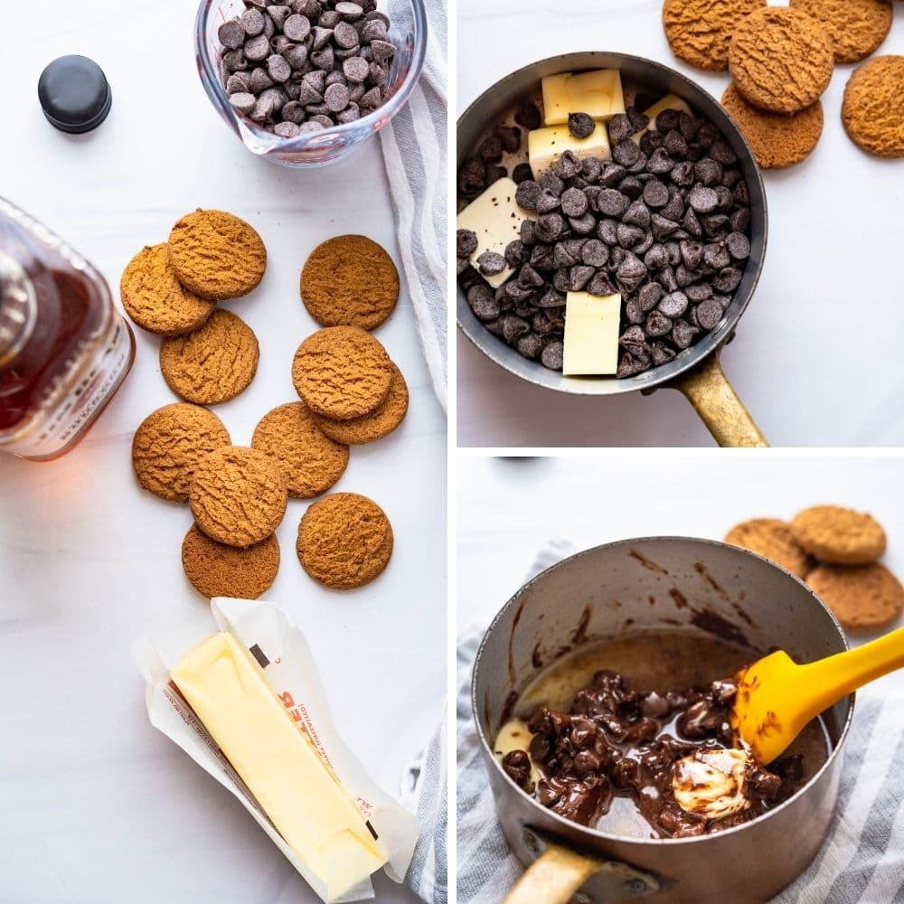 the ingredients for chocolate gingerbread truffles. Melting chocolate chips with butter.