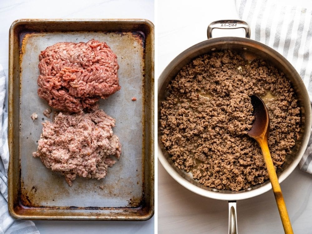 ground beef and country sausage being browned.