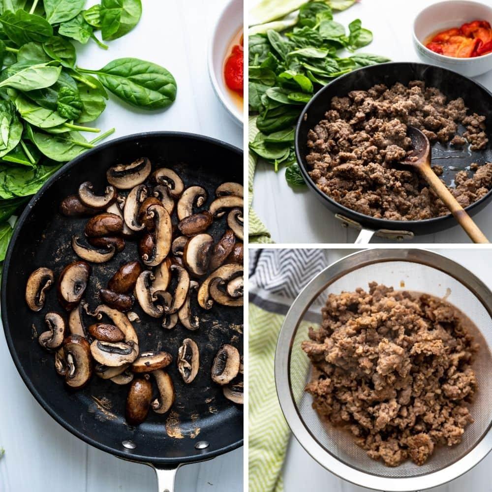 cooking mushrooms and sausage.