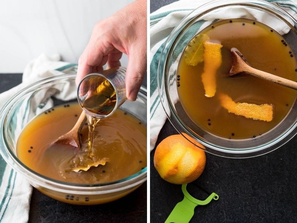 Adding bourbon and orange peel to the apple cider brine.