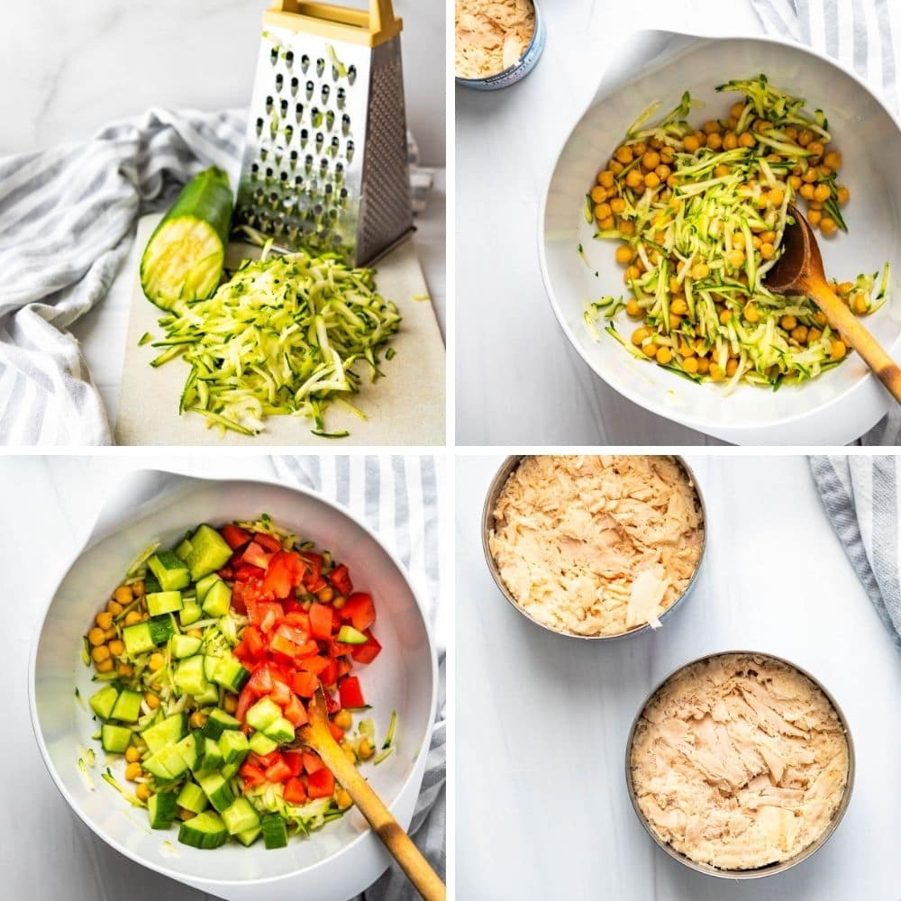 Prepping veggies and tuna for the quinoa salad.