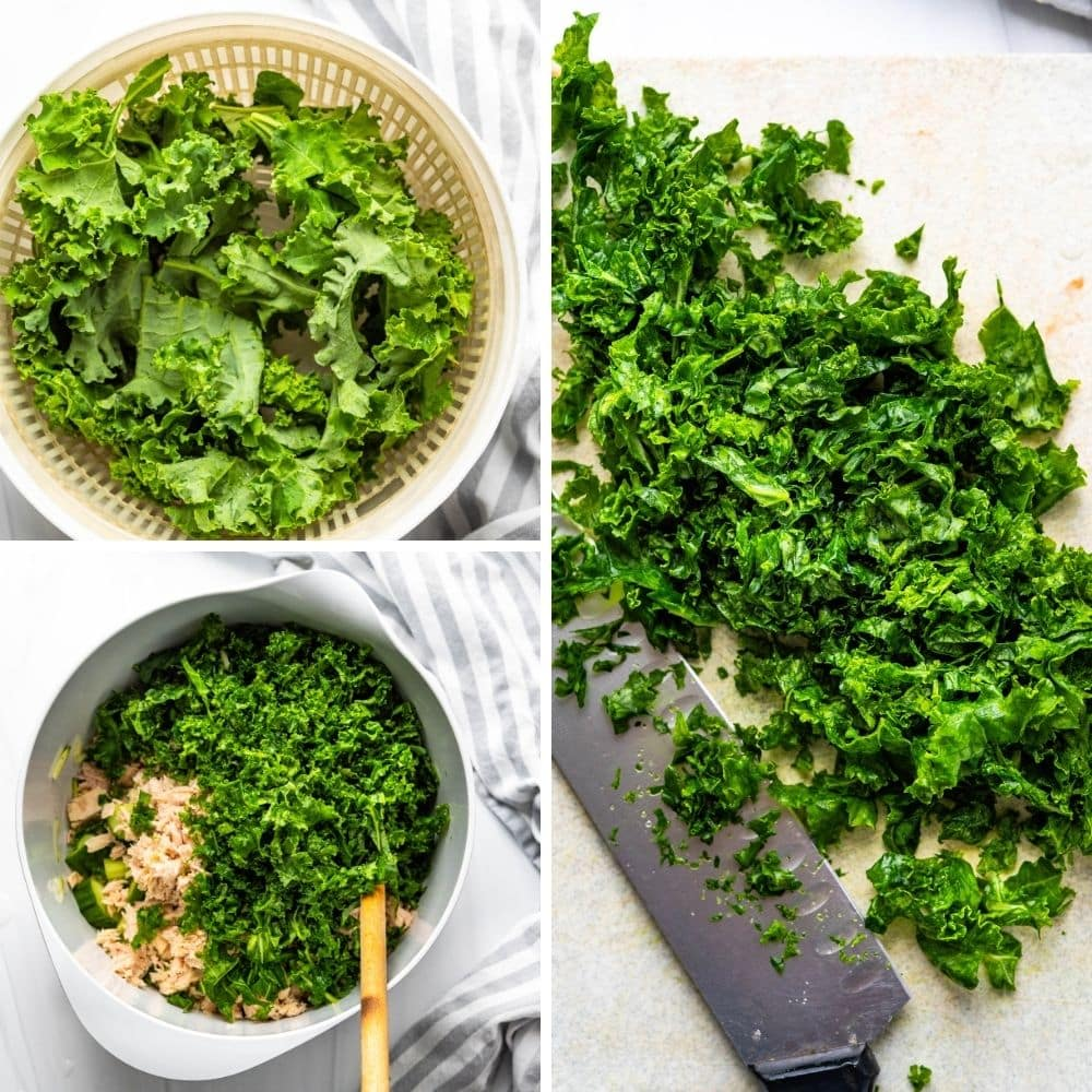 Washing, drying, massaging and chopping kale for the tuna quinoa salad.