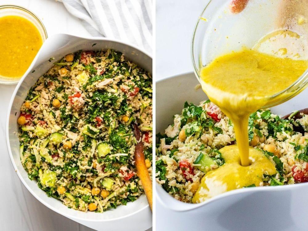mixing salad ingredients and dressing with lemon dijon vinaigrette.