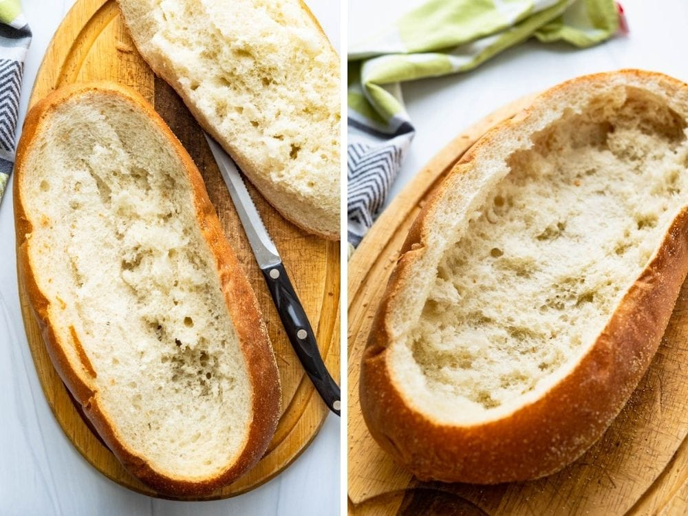 Hollowing out the loaf of bread.